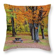 Autumn Picnic Throw Pillow