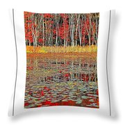 Autumn Pond And Lily Pads Poster Throw Pillow