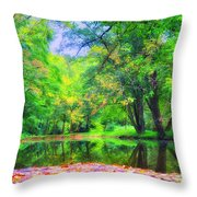 Autumn Pond In Gladwyne Throw Pillow by Bill Cannon