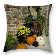 Autumn Porch Scene Throw Pillow