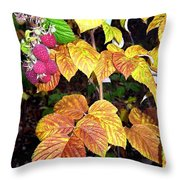 Autumn Raspberries Throw Pillow