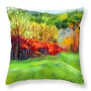 Autumn Reds Throw Pillow by Lenore Gaudet