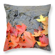 Autumn River Landscape Red Fall Leaves Throw Pillow