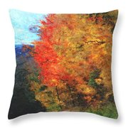 Autumn Roadside Throw Pillow