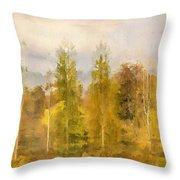 Autumn Shear Poplars Throw Pillow