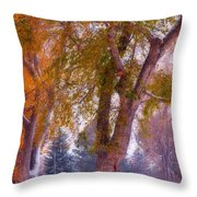 Autumn Snow Park Bench Peace Throw Pillow