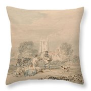 Autumn Sowing Of The Grain Throw Pillow