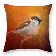 Autumn Sparrow Throw Pillow