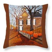 Autumn Stone House Throw Pillow