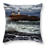 Autumn Storm At Cape Neddick Throw Pillow by Rick Berk
