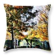 Autumn Street With Yellow House Throw Pillow