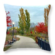 Autumn Stroll In The Park Throw Pillow