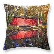 Autumn Sunrise Bridge Throw Pillow