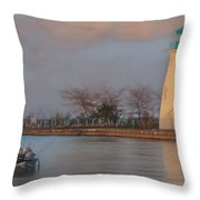Autumn Sunset Fishing  Throw Pillow