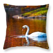Autumn Swan Lake Throw Pillow