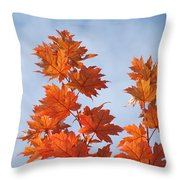Autumn Tree Leaves Art Prints Blue Sky White Clouds Throw Pillow