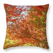 Autumn Trees Digital Watercolor Throw Pillow