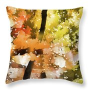 Autumn Trees In The Fog Throw Pillow