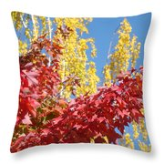 Autumn Trees Red Yellow Fall Tree Blue Sky Landsape Throw Pillow