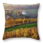 Autumn View Of Church On The Rural Hills Throw Pillow
