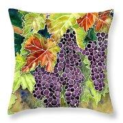 Autumn Vineyard In Its Glory - Batik Style Throw Pillow