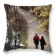 Autumn Walk On The C And O Canal Towpath With Oil Painting Effect Throw Pillow