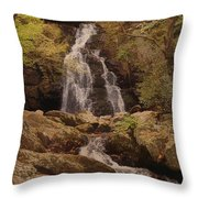 Autumn Waterfall In The Great Smoky Mountains Throw Pillow
