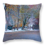 Autumn Winter Street Light Color Throw Pillow