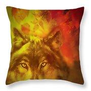 Autumn Wolf Throw Pillow