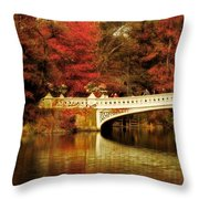 Autumnal Bow Bridge  Throw Pillow