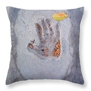Autumns Child Or Hand In Concrete Throw Pillow