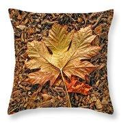 Autumn's Textured Maple Leaf Throw Pillow