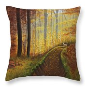 Autumn's Wooded Riverbed Throw Pillow
