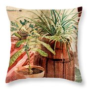 Avacado And Spider Plant Throw Pillow