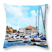 Avalon Casino Harbor, Catalina Throw Pillow