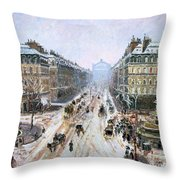 Avenue De L'opera - Effect Of Snow Throw Pillow by Camille Pissarro
