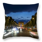 Avenue Des Champs Elysees. Paris Throw Pillow by Bernard Jaubert