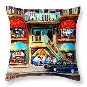 Avenue Du Parc Cafes Throw Pillow