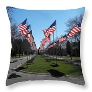 Avenue Of 444 Flags Throw Pillow