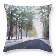Avenue Of The Pines-winter Throw Pillow