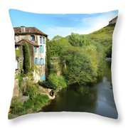 Aveyron River In Saint-antonin-noble-val Throw Pillow