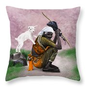 Awesome Village Woman Realistic Painting Throw Pillow