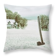 Axe In Snow Scene Throw Pillow