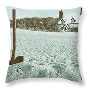 Axe In The Snow Throw Pillow