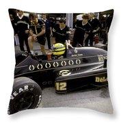 Ayrton Senna. 1986 German Grand Prix Throw Pillow