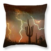 Az Saguaro Lightning Storm Throw Pillow