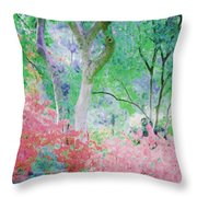Azalea Flowers And Tree Coral  Throw Pillow