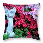 Azalea Garden Angel Throw Pillow