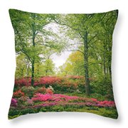 Azalea Hillside Throw Pillow