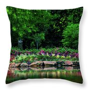 Azalea Pond Throw Pillow